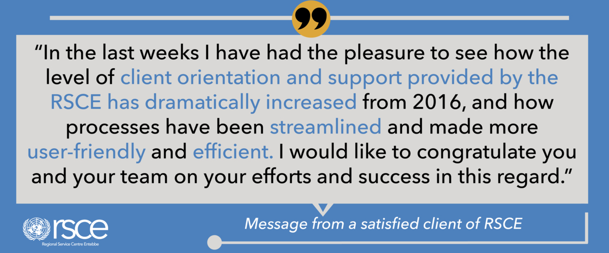 A message of appreciation from one of RSCE's clients